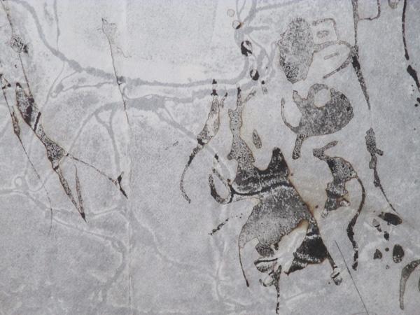 「恍惚の文字」(部分)越前和紙、墨 98×65cm 2017