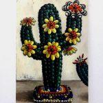 「小さな店の小さなサボテンたち1」油彩、キャンバス 100×65.2cm 2017