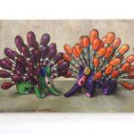 「はりねずみとはりねずみ」油彩、キャンバス 91×60.6cm 2017