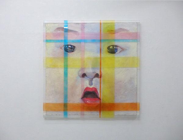 「AI」ブオンフレスコ(漆喰、砂、顔料、アクリル、金網、木) 2017